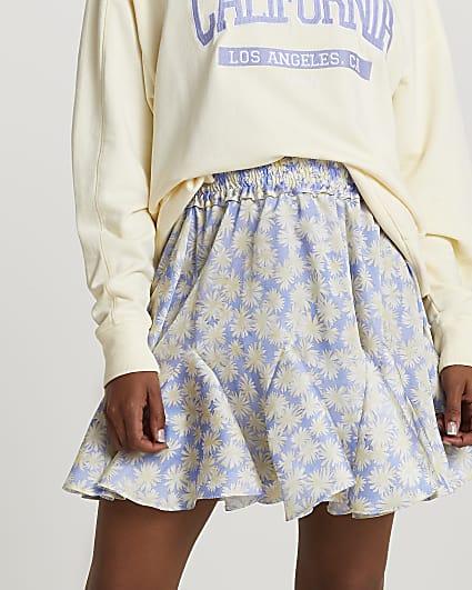 Purple mini flounce floral skirt
