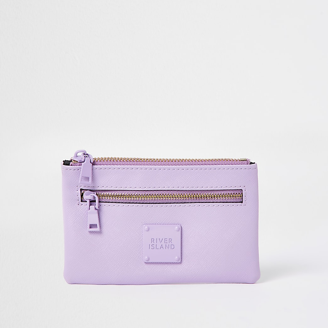 Purple mini zip pouch purse