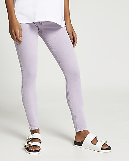 Purple Molly maternity mid rise skinny jeans