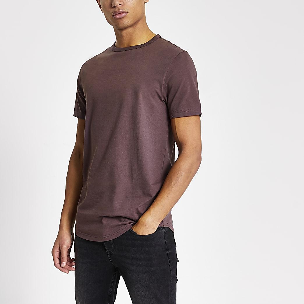 Purple muscle fit curved hem longline T-shirt