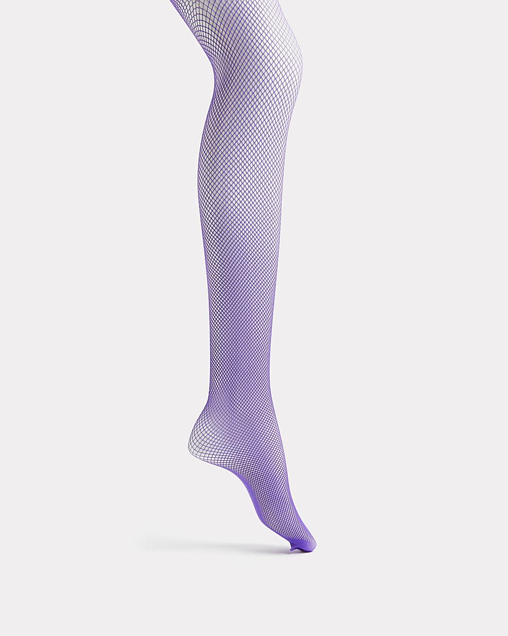 Purple neon fishnet tights