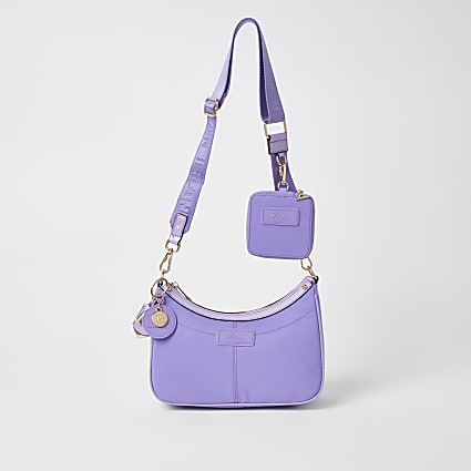 Purple nylon RI cross body bag and pochette