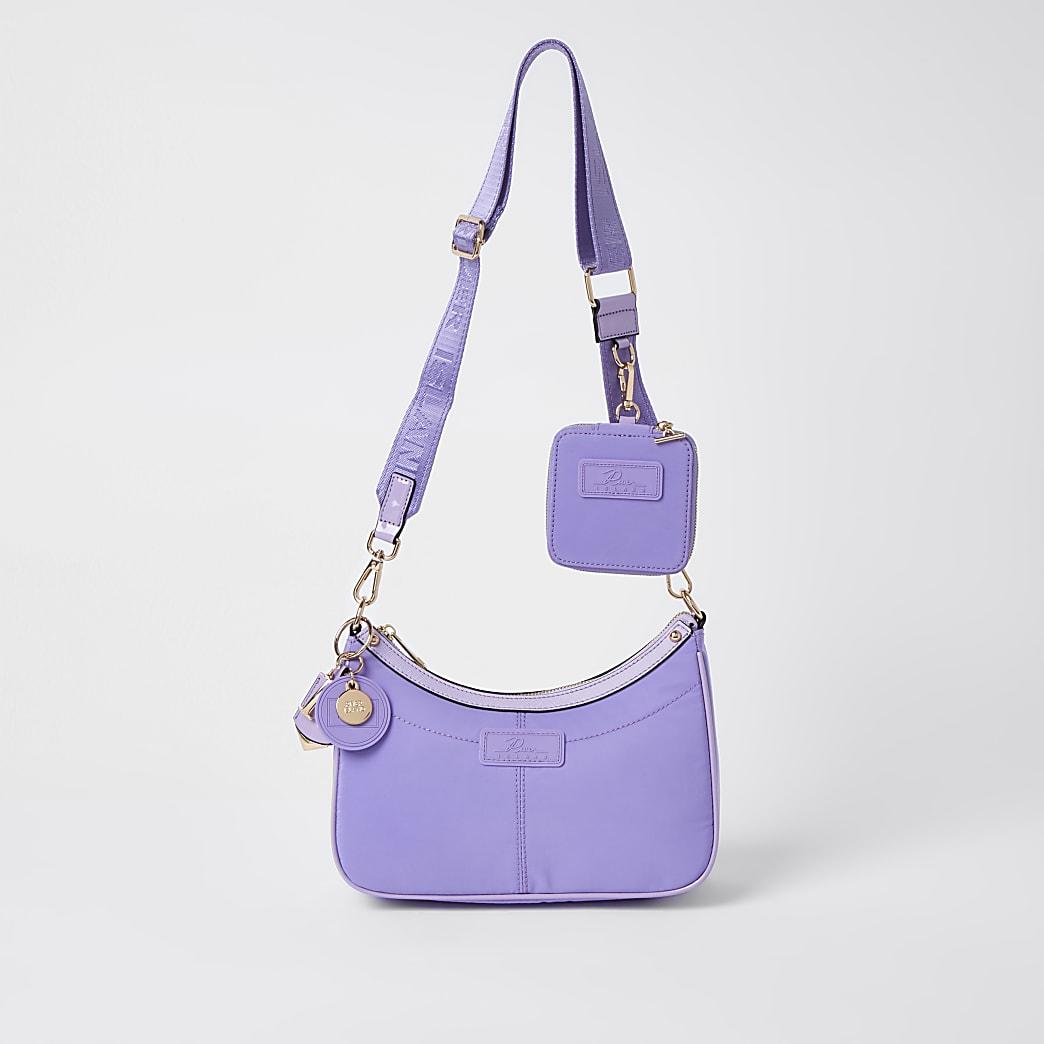 Purple nylon RI cross body bag and pochette