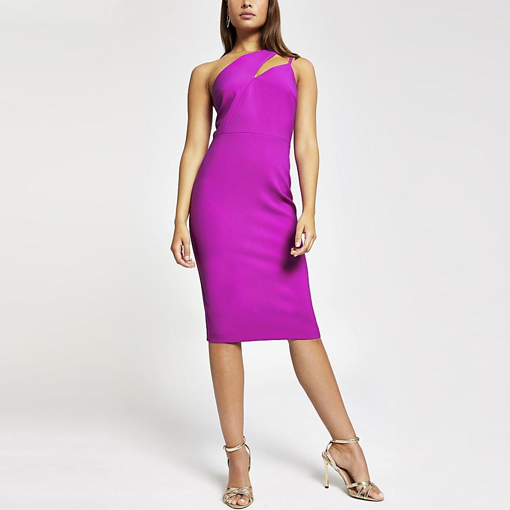 Purple one shoulder bodycon dress