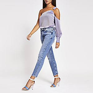 Purple one shoulder buckle top