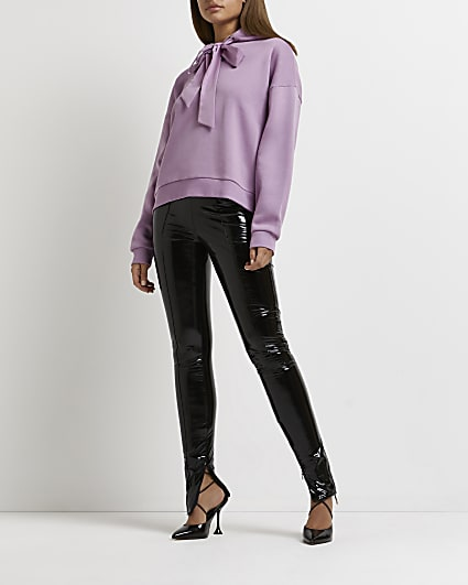 Purple oversized drawstring hoodie