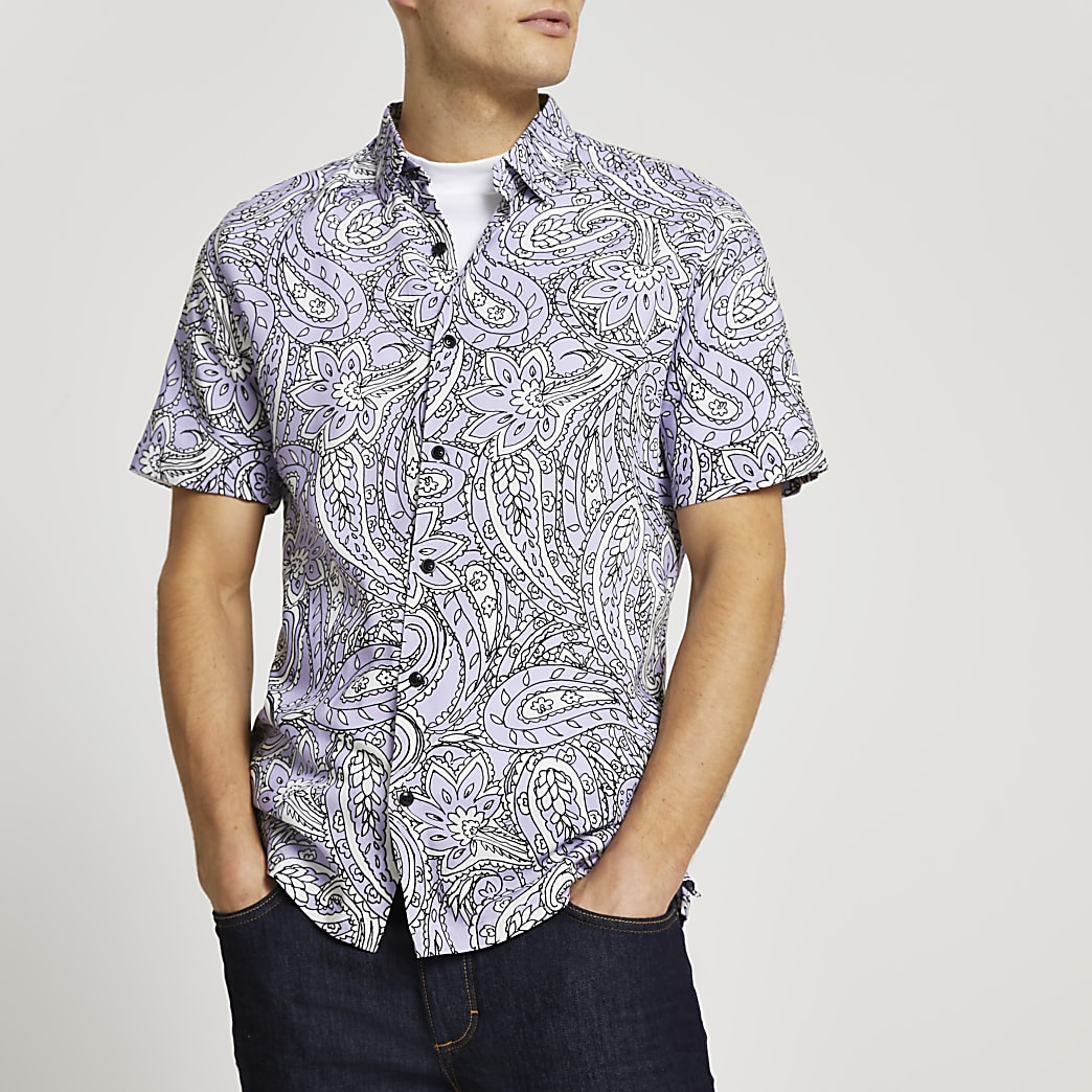 Purple paisley print slim fit shirt