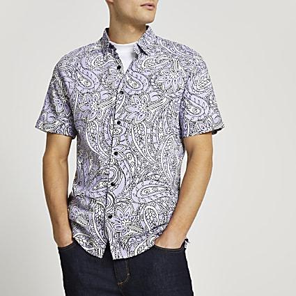 Purple paisley slim fit short sleeve shirt