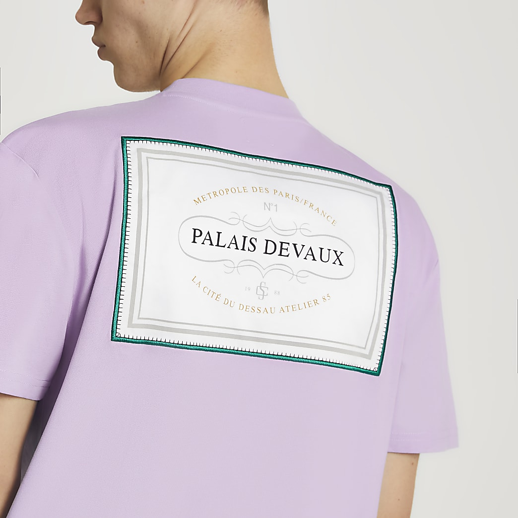 Purple 'PALAIS DEVAUX' graphic t-shirt