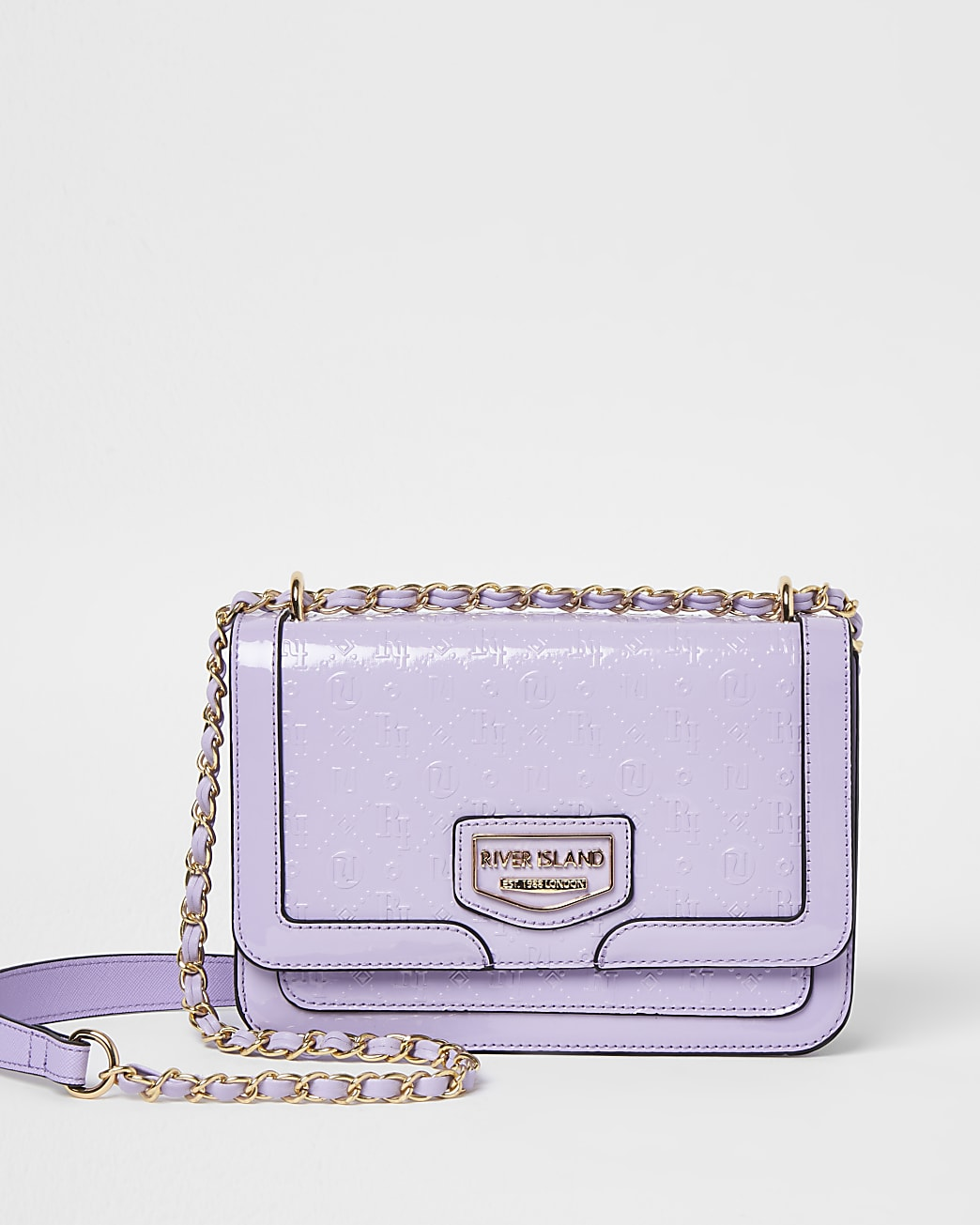 Purple patent embossed satchel bag