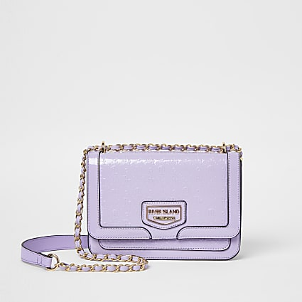 Purple patent embossed satchel bag