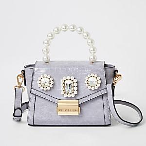 Mini-sac ornéde perles violet