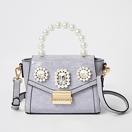 Purple pearl embellished mini bag
