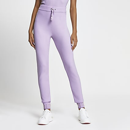 Purple pearl trim knit joggers