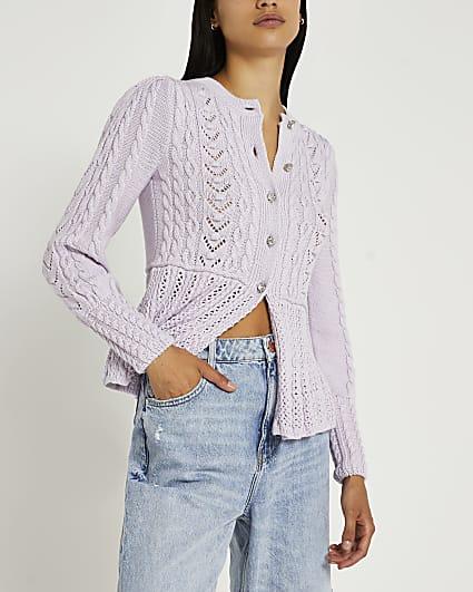 Purple peplum hem knitted cardigan