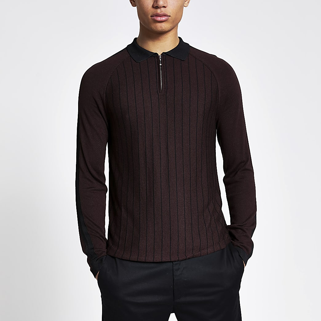 Purple pinstripe half zip knitted polo shirt
