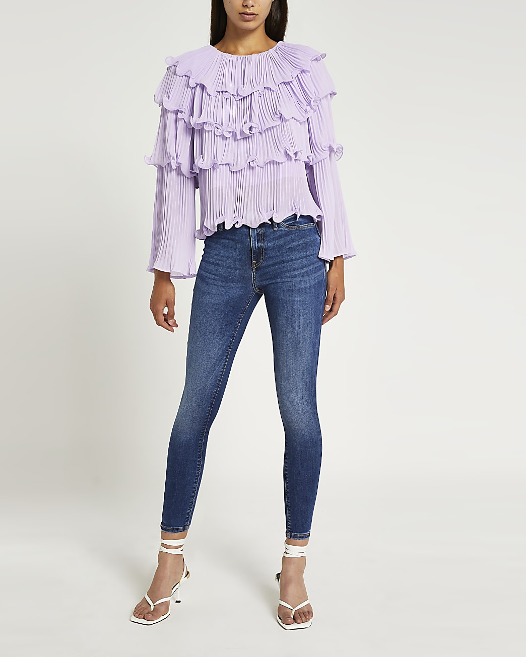 Purple pleated layered blouse top
