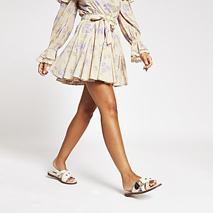 Purple print full hem mini Tennis skirt