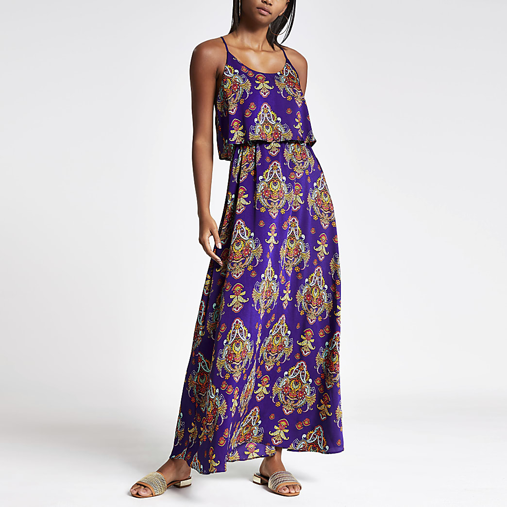Paarse maxi-jurk met print