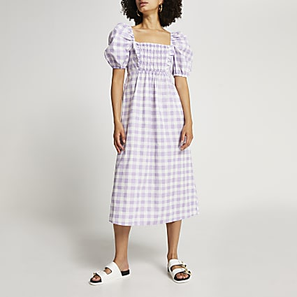 Purple puff sleeve check print midi dress