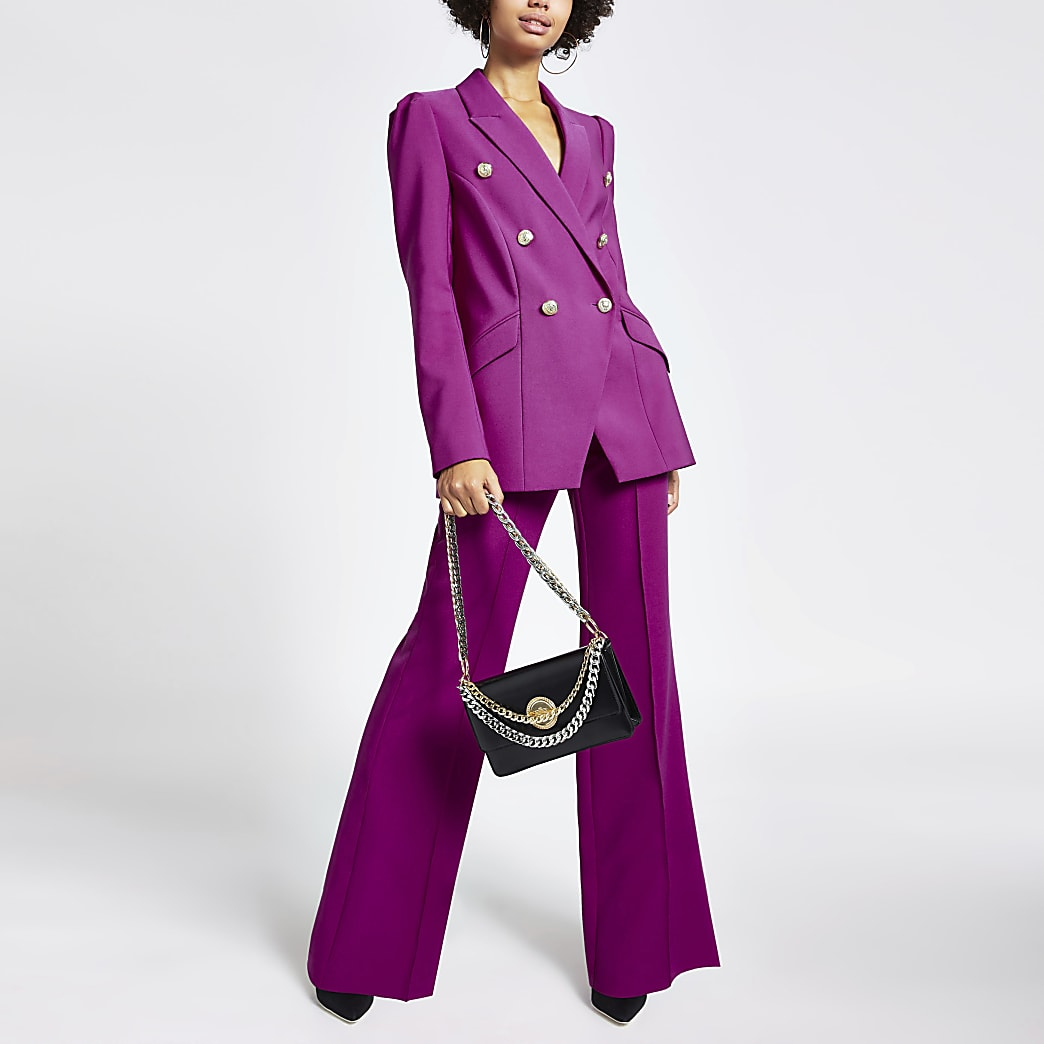 Purple puff sleeve double breasted blazer