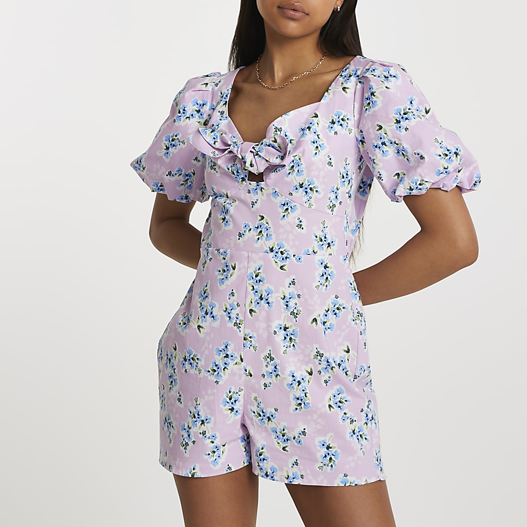 Purple puff sleeve floral tie front playsuit