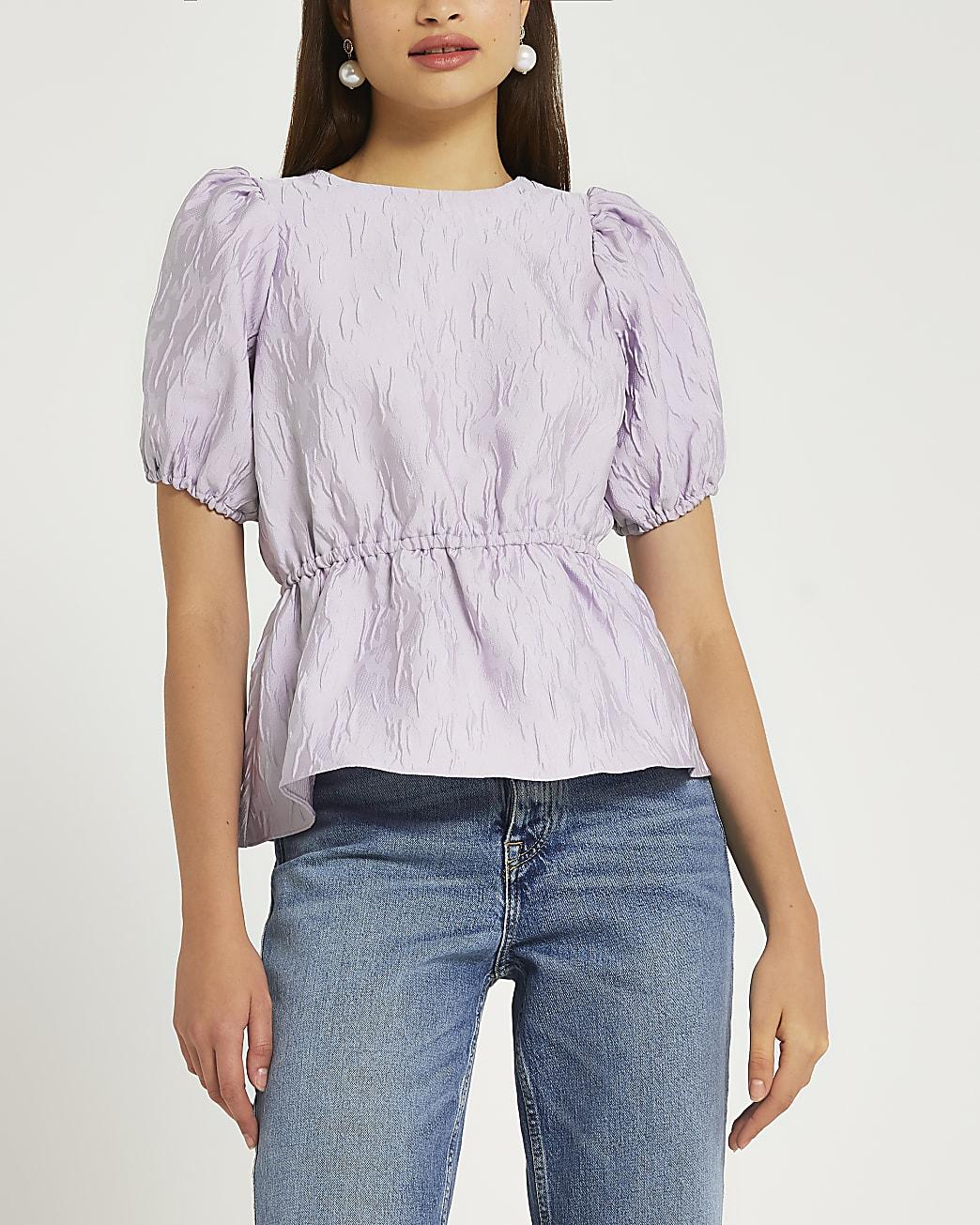 Purple puff sleeve peplum top