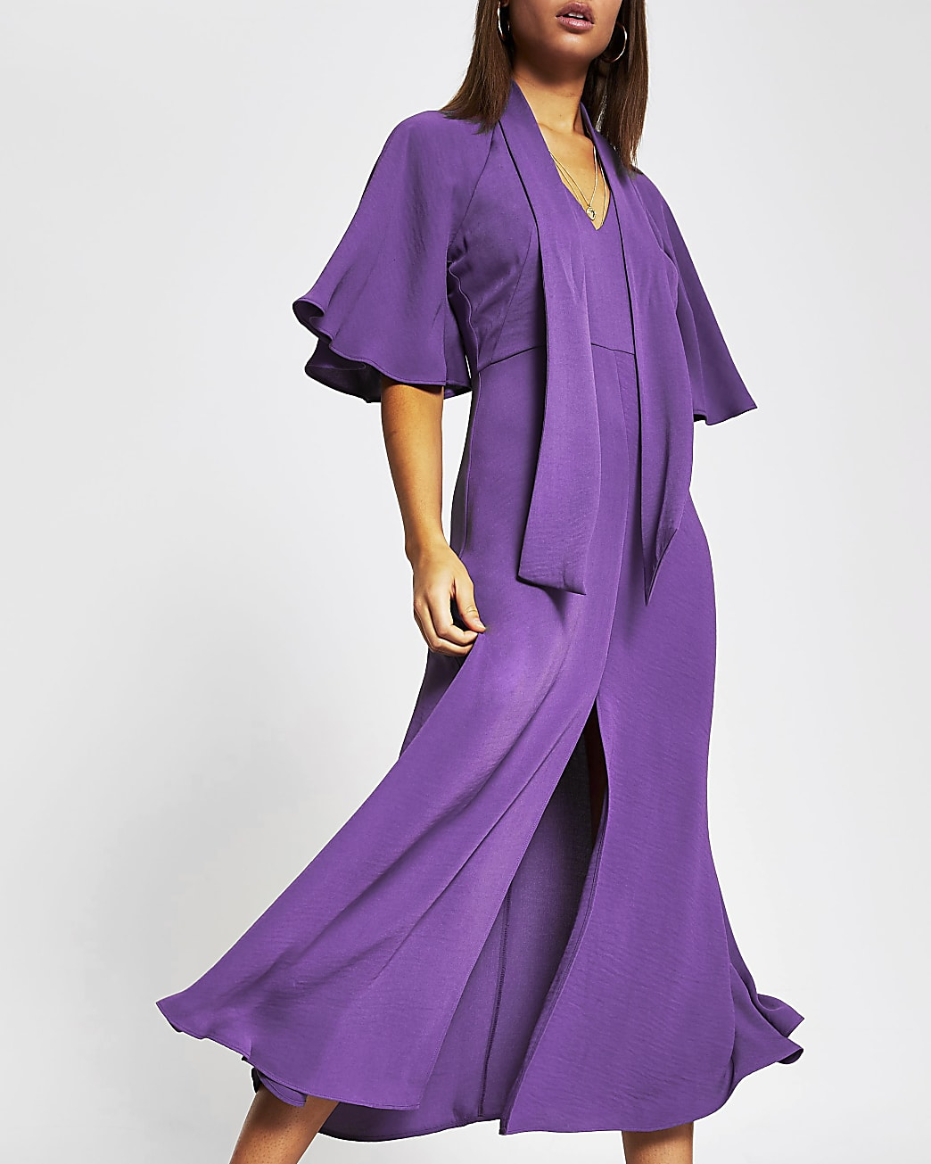 Purple pussybow waisted midi dress