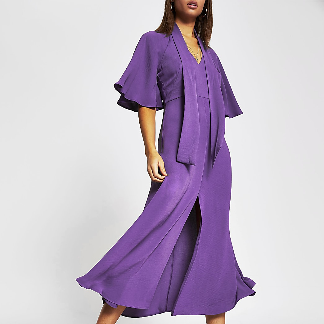 Purple pussybow waisted midi dress