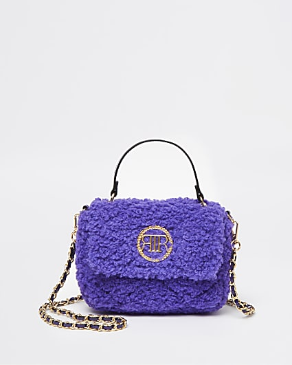 Purple quilted borg cross body bag