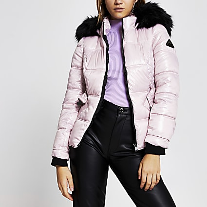 Purple quilted double zip padded coat