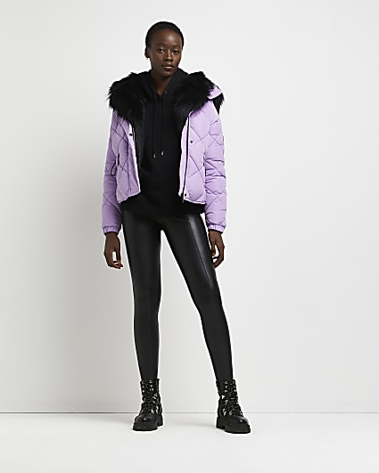 Purple quilted puffer coat