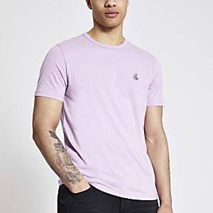 R96 - Paars slim-fit T-shirt met korte mouwen