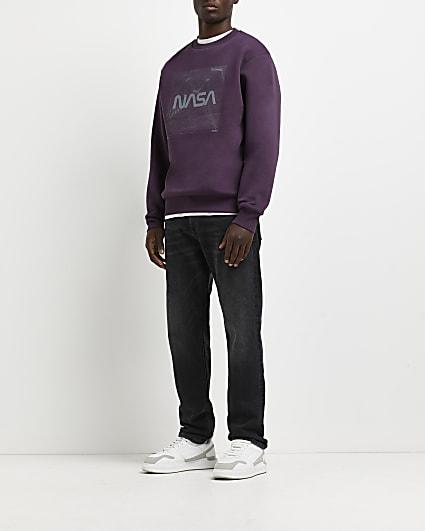 Purple regular fit graphic sweatshirt