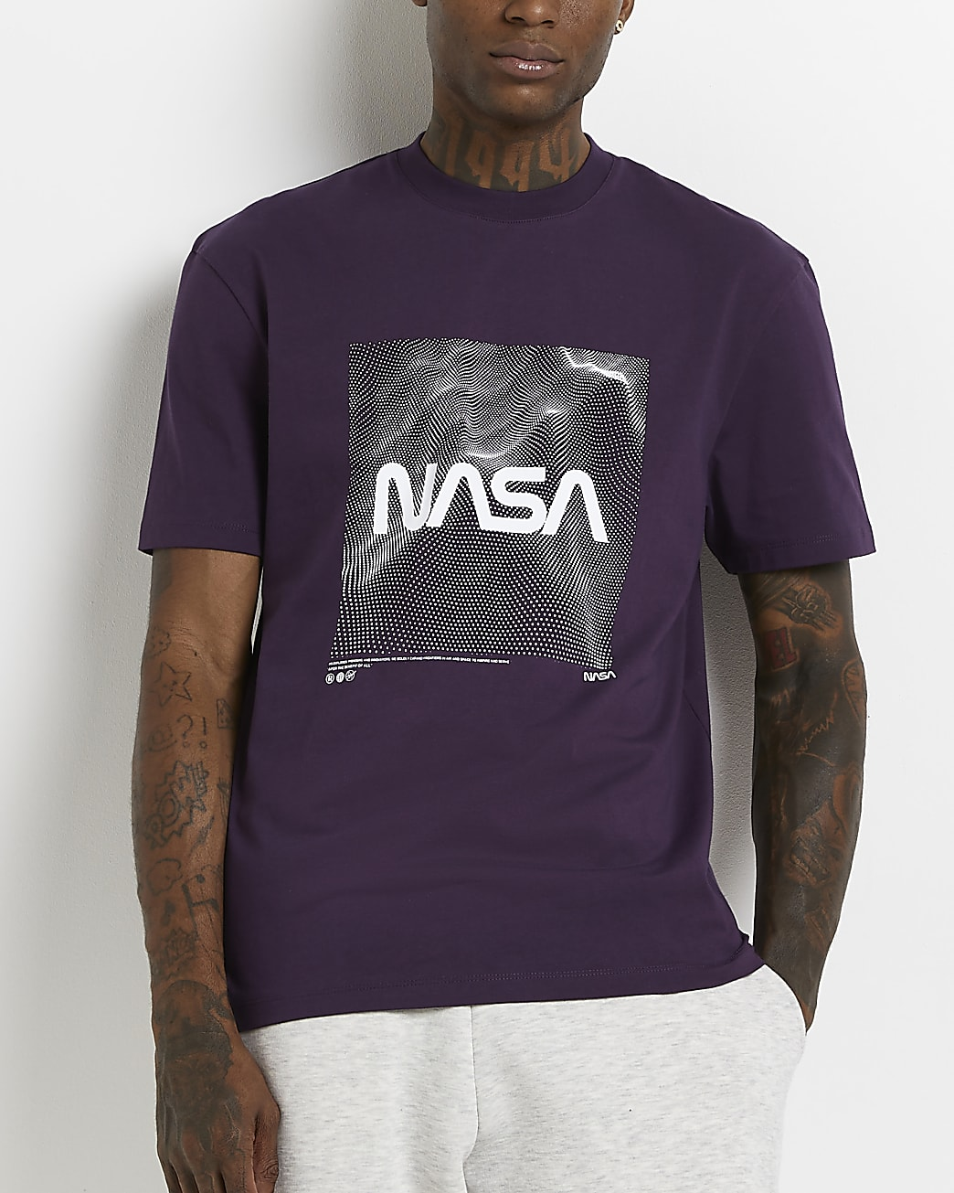 Purple regular fit NASA graphic t-shirt