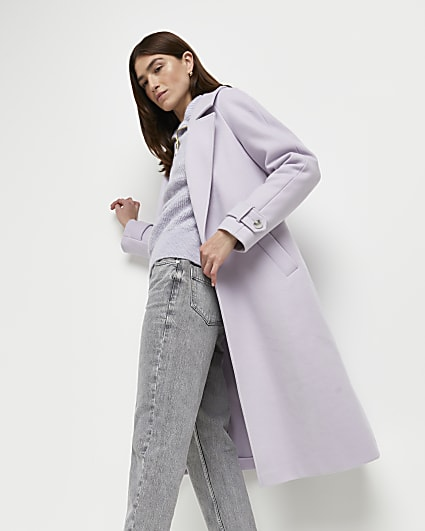Purple relaxed duster coat