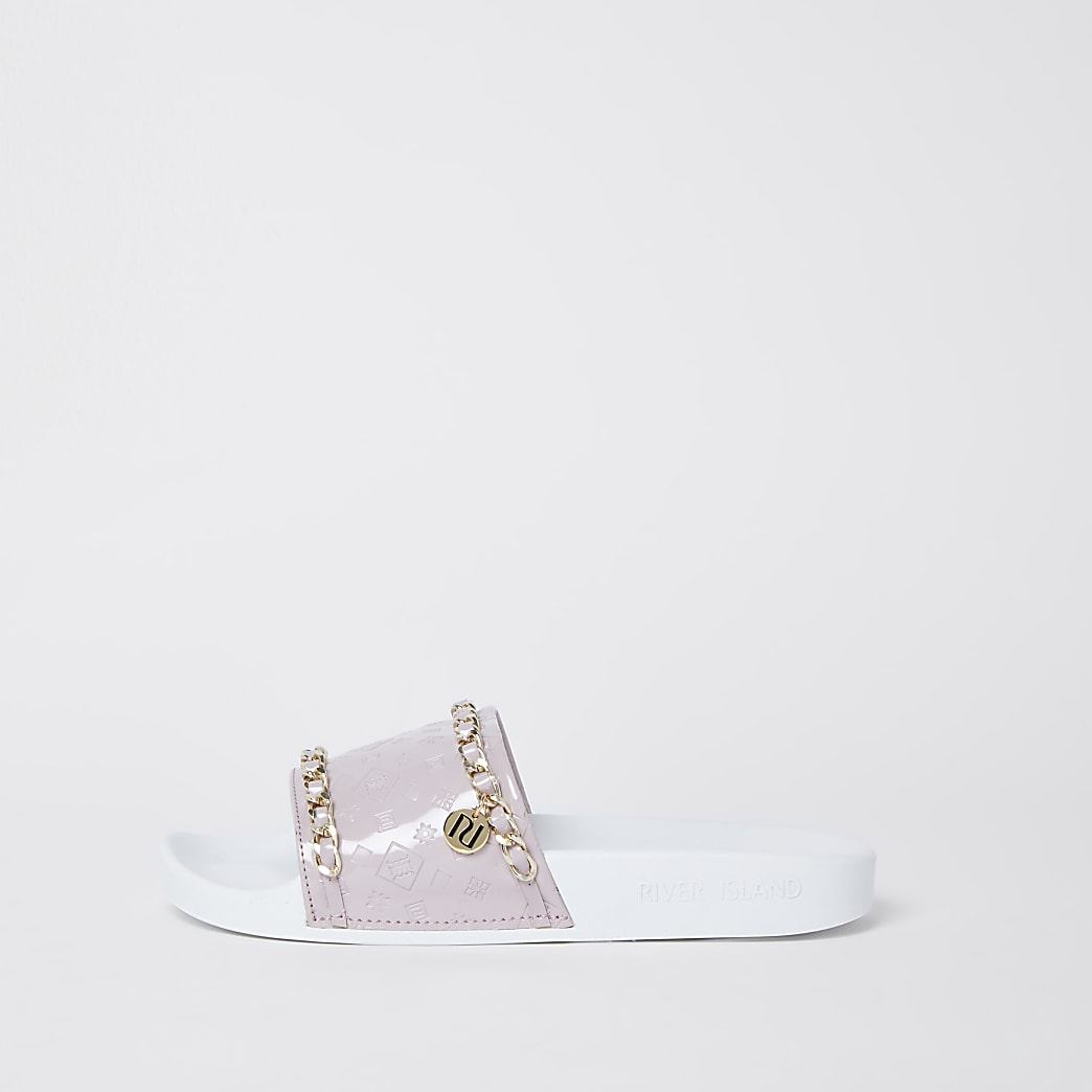 Purple RI embossed chain sliders
