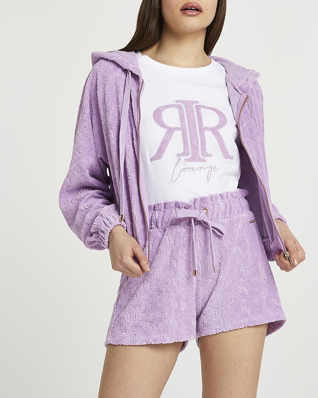 Purple RI embossed drawcord runner shorts
