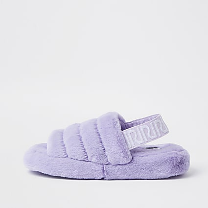 Purple RI faux fur mule slippers