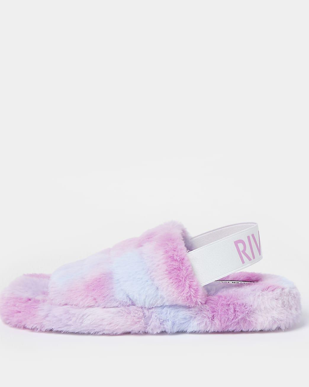 Purple RI faux fur slippers