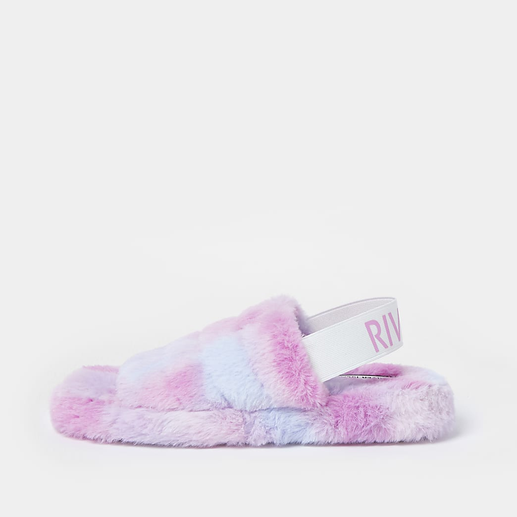 Purple RI faux fur slippers