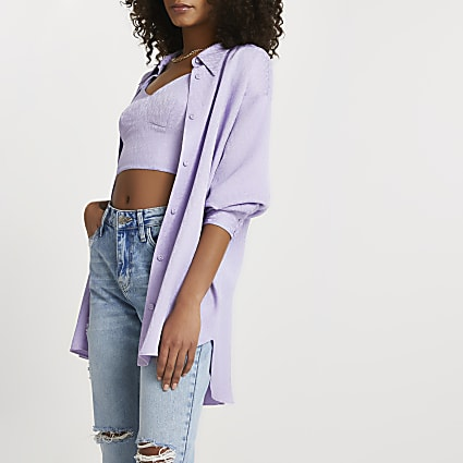 Purple RI jacquard monogram shirt