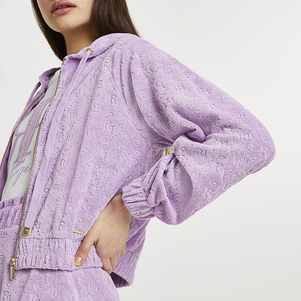 Purple RI logo zip front hoodie