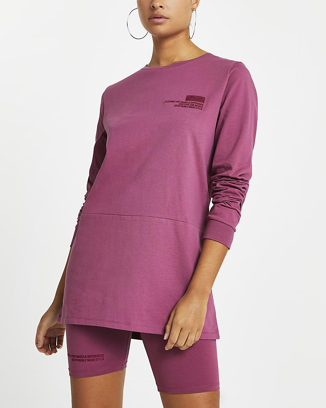 Purple RI ONE washed long sleeve t-shirt