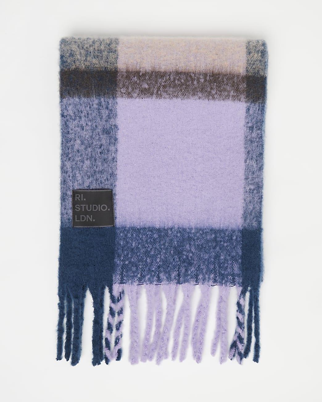 Purple RI Studio check scarf
