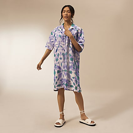 Purple RI Studio oversized shirt dress