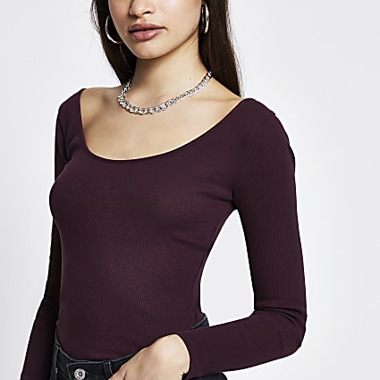 Purple ribbed long sleeve top