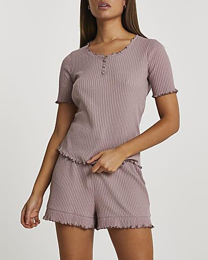 Purple ribbed pyjama set