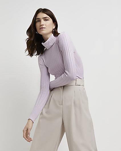 Purple ribbed roll neck jumper