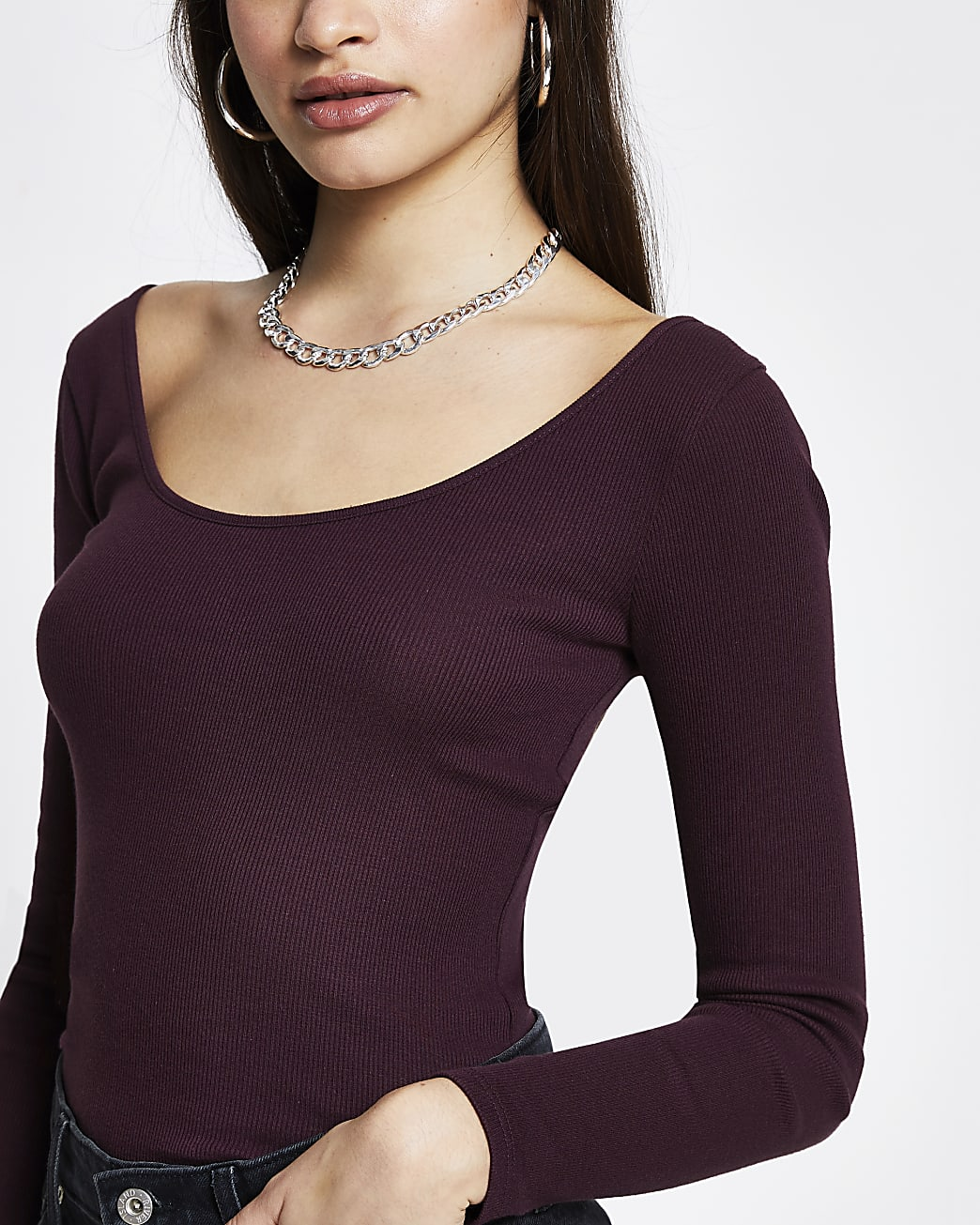 Purple ribbed scoop neck top